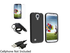 Insten Black Soft Case Cover + Matte Screen Protector + Cable + Charger Compatible with Samsung Galaxy SIV S4 i9500