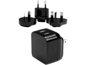 StarTech USB2PACBK Black Dual-port USB wall charger - international travel - 17W/3.4A