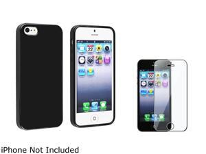 Insten Black Jelly TPU Rubber Case Cover + Clear Screen Cover Compatible With Apple iPhone 5 / 5s 814764