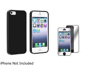 Insten Black Jelly TPU Rubber Case Cover + Mirror Screen Cover Compatible With Apple iPhone 5 / 5s 814765