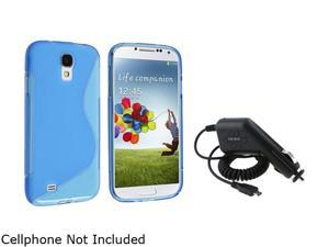 Insten Blue S Line TPU Rubber Skin Case + In Car Charger Compatible with Samsung Galaxy SIV S4 i9500