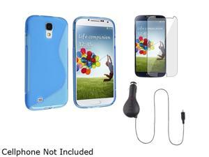 Insten Blue S TPU Case + Clear LCD Film + Retract Car Charger Compatible with Samsung Galaxy S4 i9500