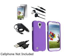 Insten Purple Hard Case + Mirror Screen Protector + Charger + Cord + Black Headset Compatible with Samsung Galaxy S4 i9500