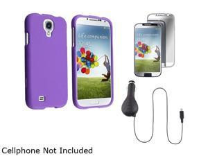 Insten Purple Hard Case + Mirror Screen Protector + Retractable Car Charger Compatible with Samsung Galaxy S4 i9500
