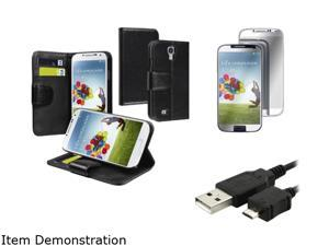 Insten Wallet Leather Stand Case + Mirror LCD Protector + Cord Compatible with Samsung Galaxy S4 i9500