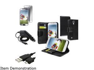Insten Wallet Leather Stand Case + Mirror LCD Screen Protector + Charger + USB Cable Compatible with Samsung Galaxy S4 i9500
