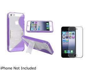 Insten Purple S-Line TPU Rubber Skin w/Stand Case And Reusable Anti-glare Screen Protector for Apple iPhone 5 804519