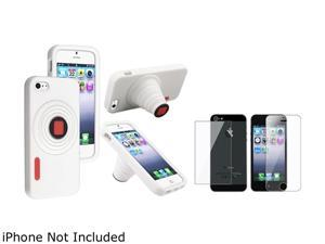 Insten White Camera Gel Stand Case Cover + Front & Back screen Protector Compatible With Apple iPhone 5 / 5s 804584
