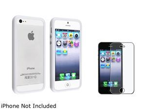 Insten White Bumper TPU Case Cover w/ Alum Button + Anti-Glare Screen Cover Compatible With Apple iPhone 5 / 5s 808143