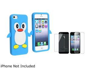 Insten Blue Cute Cartoon Case with FREE Reusable Front & Back Screen Protector Compatible With Apple iPhone 5 814905