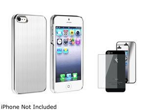 Insten Silver Brushed Aluminum Rear Snap-on Case + Mirror Front & Back screen Protector 804609