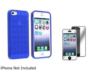 Insten Dark Blue Argyle Candy Skin Case Case And Mirror Screen Protector for Apple iPhone 5 803819