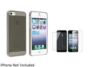 Insten Clear Smoke Clip-on Slim Case + Front & Back LCD Cover Compatible With Apple iPhone 5 / 5s 831822