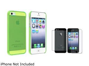 Insten Clear Green Clip-on Slim Case + 2 LCD Kit (Front & Back) Anti-Glare Screen Cover Compatible With Apple iPhone 5 / ...