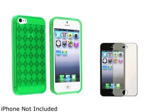 Insten Green Argyle Candy Skin Case Case And Colorful Diamond Screen Protector for Apple iPhone 5 803865