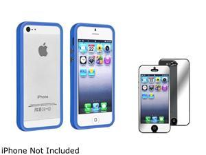 Insten Dark Blue Bumper TPU with Aluminum Button Case Cover + Mirror Screen Cover Compatible With Apple iPhone 5 / 5s 814789