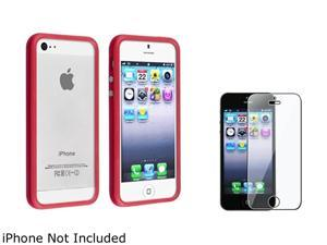Insten Red Bumper TPU with Aluminum Button Case Cover + Clear Screen Cover Compatible With Apple iPhone 5 / 5s 814796