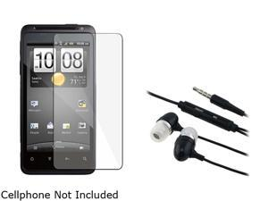 Insten 2X Reusable Screen Protector +Black Universal 3.5mm In-Ear Stereo Headset w/ On-off & Mic Compatible With HTC EVO ...