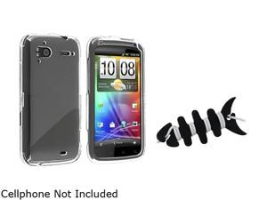 Insten Clear Snap-on Crystal Case+Black Headset Smart Wrap Compatible With HTC Z710e / Sensation 4G / Pyramid