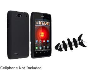 Insten Black Snap-on Rubber Coated Case+Black Headset Smart Wrap Compatible With Motorola Droid 4 / 4G