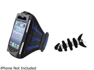Insten Black / Dark Blue Deluxe ArmBand+Black Headset Smart Wrap Compatible With Apple iPhone 4 4S