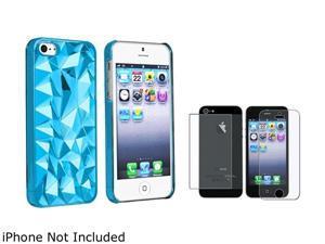 Insten Clear Blue Diamond Cut Snap-on Case w/ 2 Screen Protector 831743
