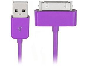 4XEM 4X30PINCBLPL Purple 30-Pin To USB 2.0 Cable For iPhone/iPod/iPad