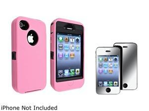 Insten Black Hard/ Pink Skin Hybrid Case And Mirror Screen Protector for Apple iPhone4 / 4S 730786