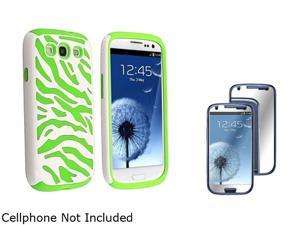 Insten Neon Green Skin/White Zebra Hard Hybrid Case + Mirror Screen Protector For Samsung Galaxy S3 919548