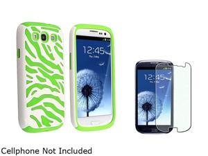 Insten Neon Green Skin/White Zebra Hard Hybrid Case + Colorful Diamond Screen Protector For Samsung Galaxy S3 919550