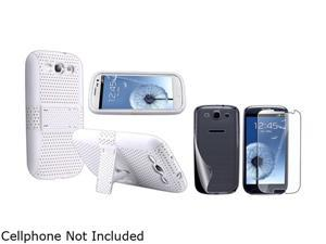Insten White Skin / White Meshed Hard Hybrid Case with 2 LCD Kit (Front & Back) Reusable Screen Protector for Samsung Galaxy ...