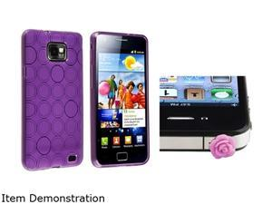 Insten Purple Circle TPU Rubber Skin Case with Purple Rose Headset Dust Cap for Samsung Galaxy S2 / S II / S2 i9100 1051575