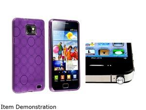 Insten Purple Circle TPU Rubber Skin Case with Clear Diamond Headset Dust Cap for Samsung Galaxy S2 / S II / S2 i9100 1051574