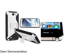 Insten Black / Clear S Shape TPU Rubber Skin Case w/ stand with Clear Diamond Headset Dust Cap for Samsung Galaxy Note 2 ...