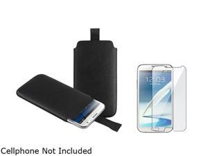Insten Black Pull Leather Pouch Case + Clear Reusable Screen Protector 1051557