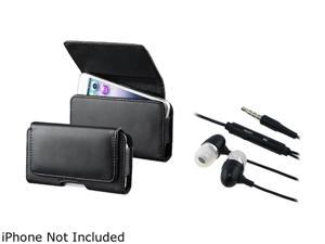 Insten Black Phone Leather Case with Magnetic Flap And Black In-ear (w/on-off) Stereo Headsets for Motorola Photon Q XT897 ...