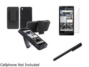 Insten Black Snap-on Holster Case And Clear Reusable Screen Protector And Stylus Pen for Motorola Droid X2 1051544