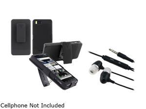 Insten Black Snap-on Holster Case And Black In-ear (w/on-off) Stereo Headsets for Motorola Droid X2 1051543