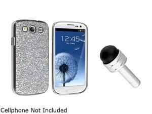 Insten Silver Glitter Snap-on Case And Silver 3.5-mm Headset Dust Cap with Mini Stylus for Samsung Galaxy S III i9300 1047348
