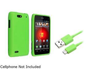Insten Green Snap-on Rubber Coated Case + 3 FT Green Micro USB 2- in-1 Cable for Motorola Droid 4 XT894 1047336