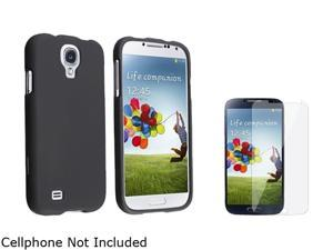 Insten Black Rubber Coated Hard Cover Case + Reusable Screen Protector Compatible with Samsung Galaxy S4 / SIV i9500