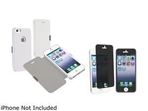 Insten White Luxury Magnetic Flap Leather Case with FREE Privacy Filter compatible with Apple iPhone 5 - 803664