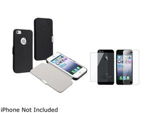 Insten Black Luxury Magnetic Flap Leather Case + Reusable Front & Back Screen Protector for Apple iPhone 5 - 803669