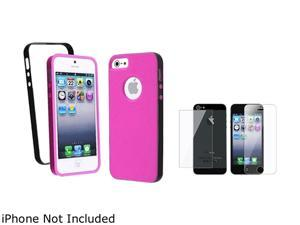 Insten Hot Pink with Black Bumper TPU Rubber Case + Reusable Front & Back Screen Protector for Apple iPhone 5 - 803677