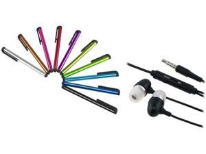 Insten Black 3.5mm In-Ear Stereo Headset w/ On-off & Mic+10-Piece Touch Screen Stylus Compatible With HTC One X XL EVO 4G LTE Inspire 4G
