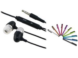 Insten 10 Colorful Stylus Pen + Black Headset Compatible with Samsung Galaxy S3 i9300 N7100 S4 i9500