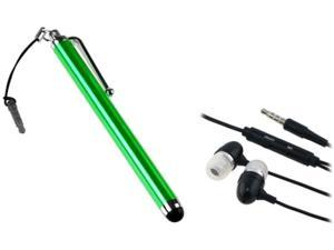 Insten Green Stylus Dust Cap + Black Headset Compatible with Samsung Galaxy i9300 Note 2 N7100 S4 i9500
