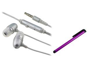 Insten Purple Stylus + Silver Headset Compatible with Samsung Galaxy S3 i9300 SIV i9500 S4 Note N7100
