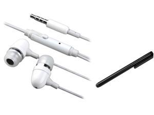 Insten White Headset w/ Mic & Onoff + Black Stylus Compatible with Samsung Galaxy SIV S4 i9500 I9300 Note 2