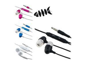 Insten Black Headset Smart Wrap + Black In-Ear Headset w/ On-off & Mic + Hot Pink / White In-Ear Headset w/ On-off & Mic ...